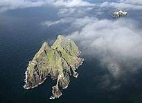Aerial view of Skellig Michael from the west with Little Skellig in the background.