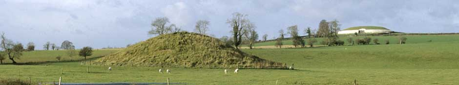 Small passage tomb beside river Boyne (Newgrange in background) (abstract detailed photo)