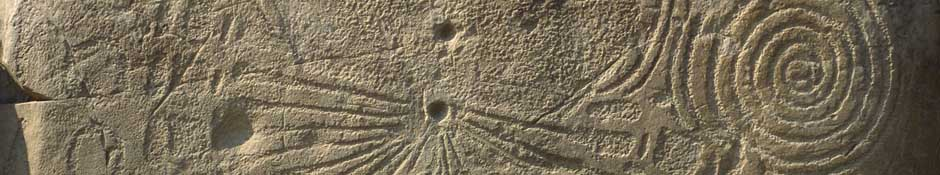 Knowth kerbstone (sundial like carving) (abstract detailed photo)